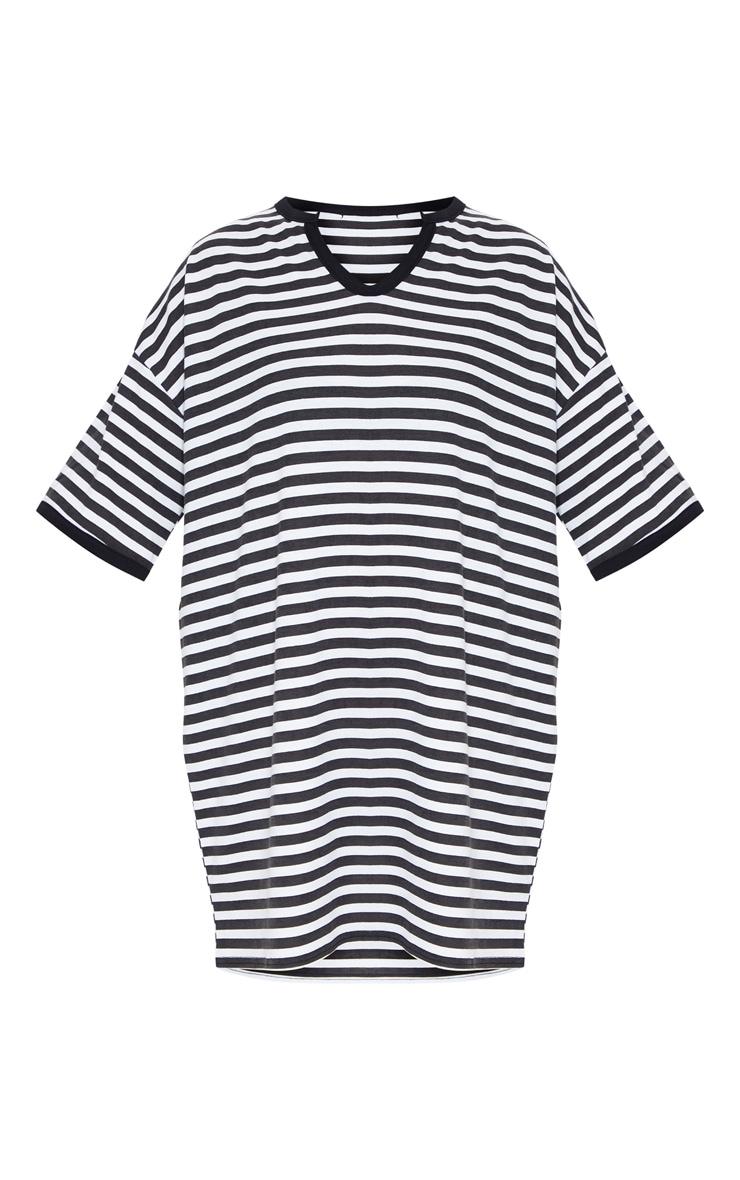 Black Split Neck Stripe Boyfriend T Shirt Dress 5