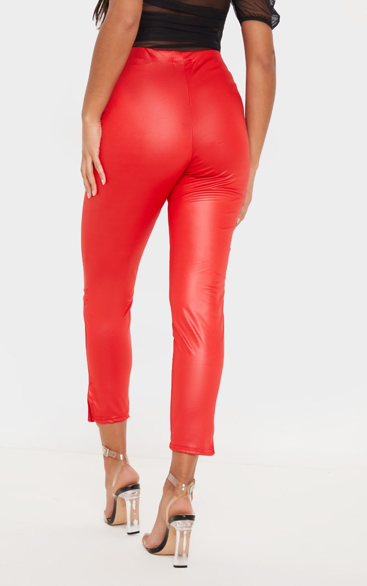 Red Wet Look Cropped Slit Hem Legging 3