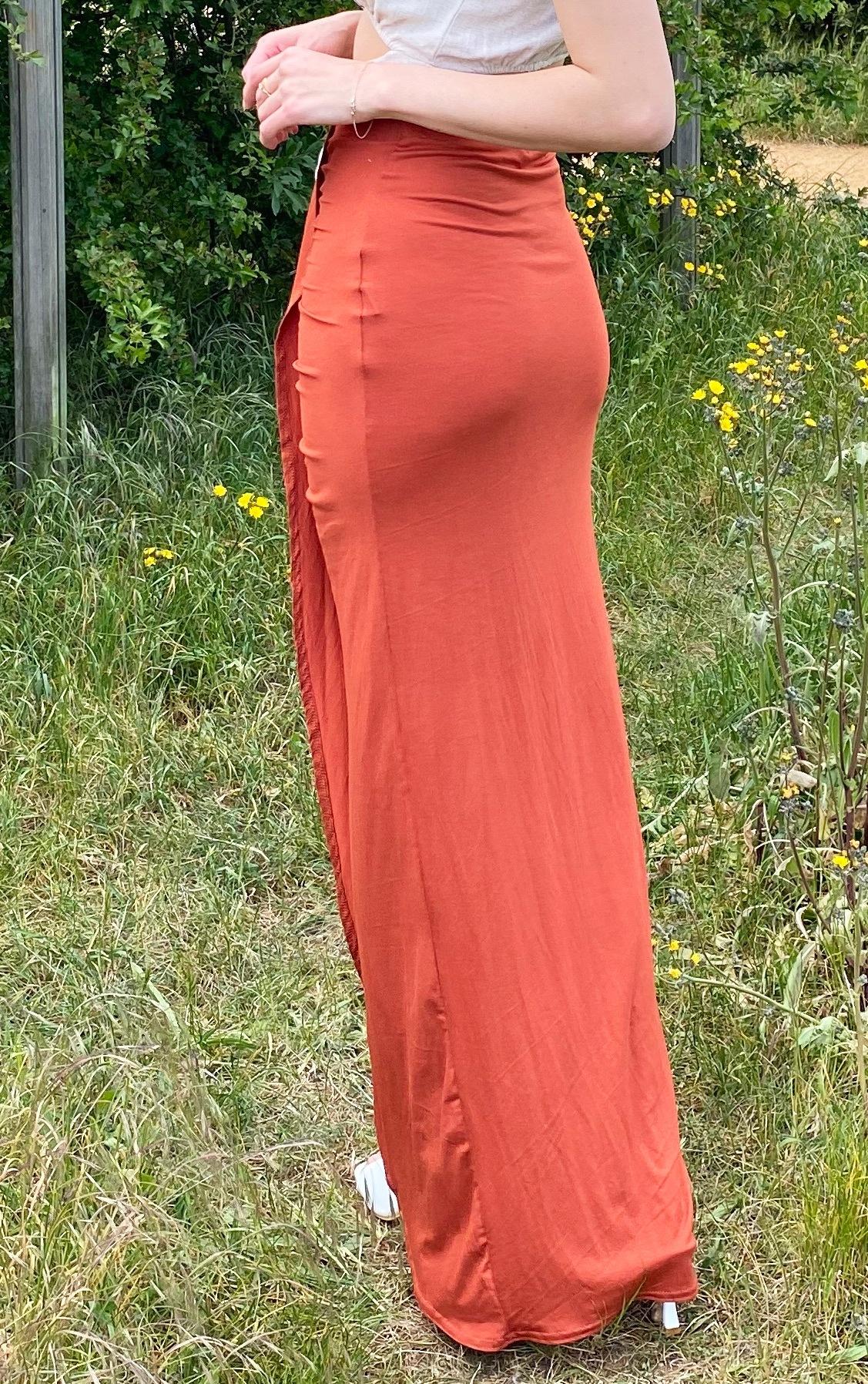 Rust Jersey Drape Front Midaxi Skirt 3