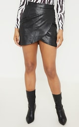 Tall Black Snake Effect Faux Leather Wrap Skirt 2