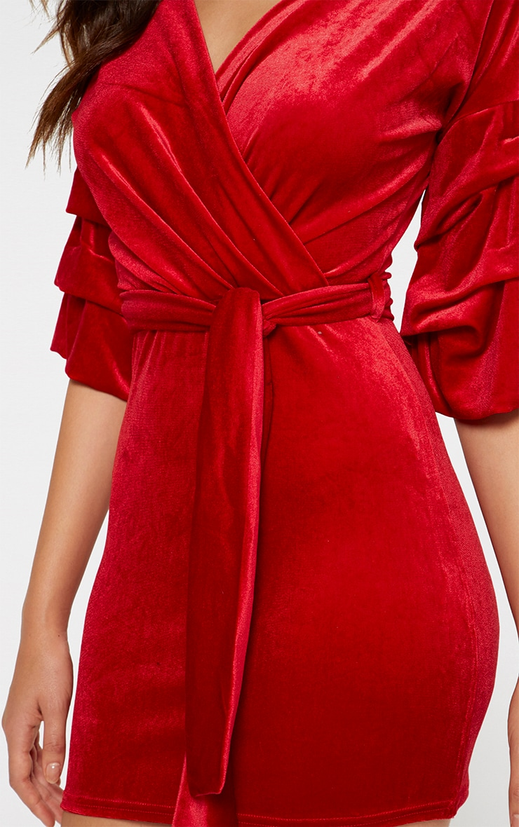 Red Tuck Sleeve Wrap front Tie Waist Bodycon Dress 4