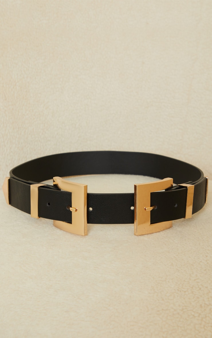 Black Double Gold Square Buckle Waist Belt 2
