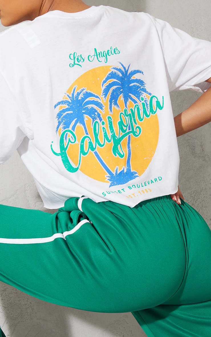 White Los Angeles Graphic Back Print Cropped T Shirt 4