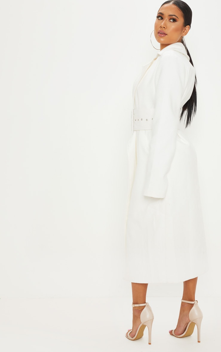 Petite - Manteau crème à ceinture 2