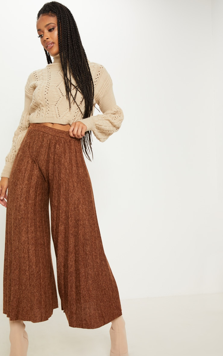 Brown High Waisted Pleated Culotte 1