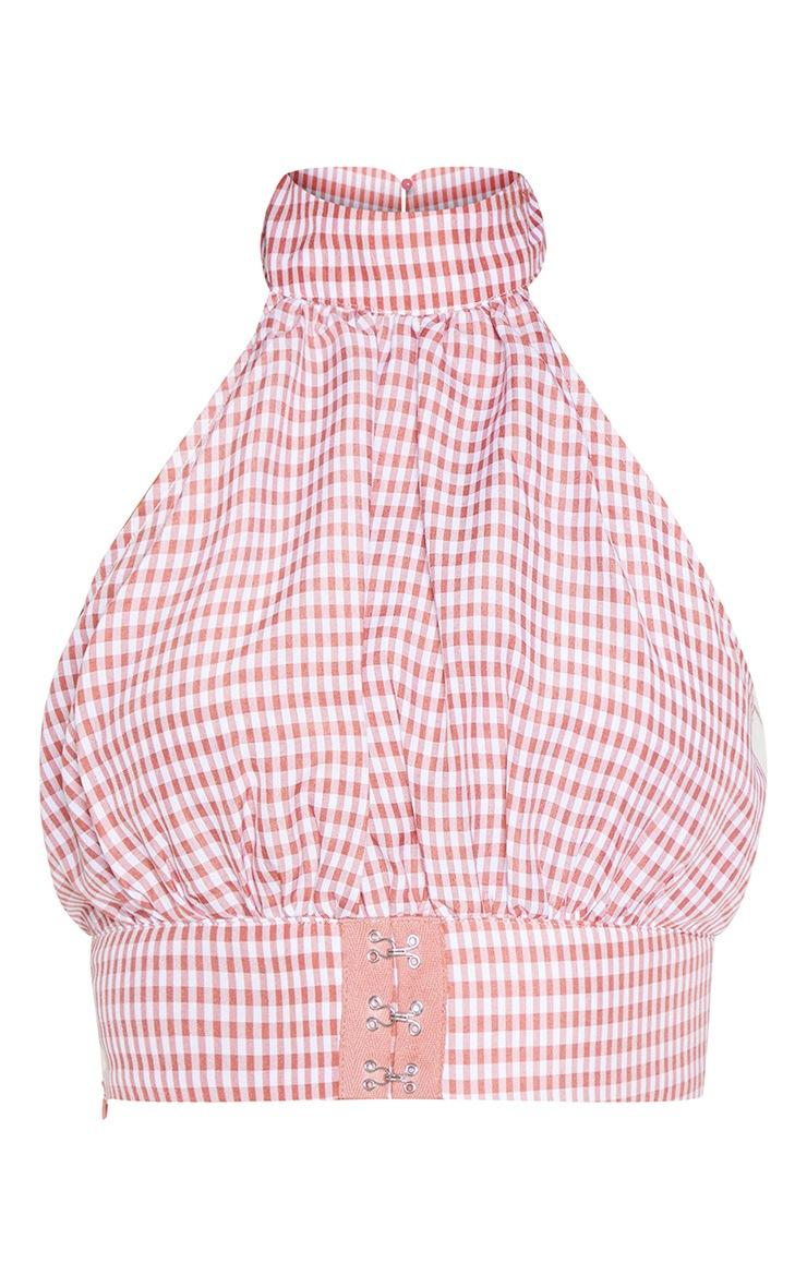 Pink Gingham Printed Halterneck Hook & Eye Crop Top 3