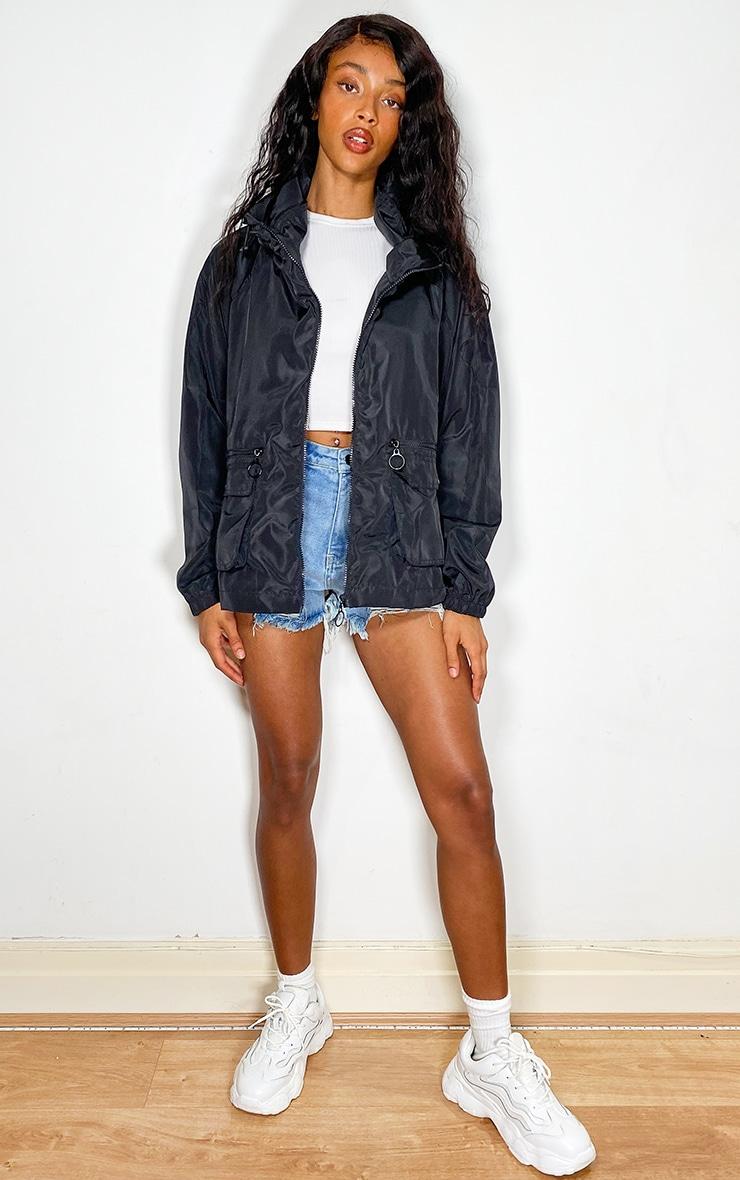 Black Nylon Pocket Front Zip Detail Tracksuit Jacket 3