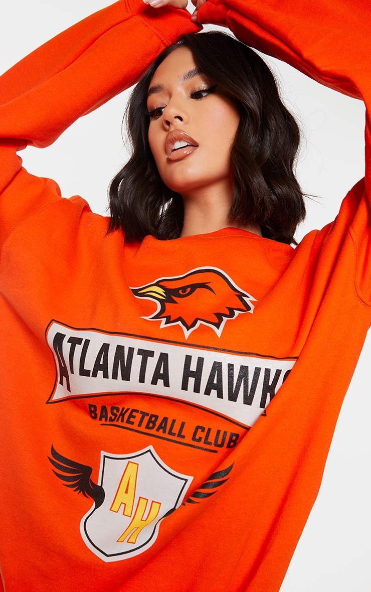 Orange Atlanta Hawks Printed Sweatshirt 4