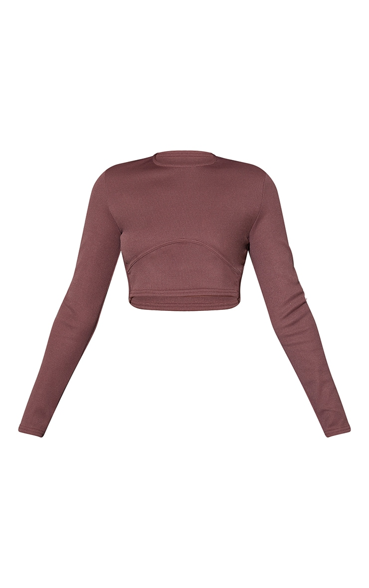 Washed Brown Structured Rib Underbust Detail Long Sleeve Crop Top 5