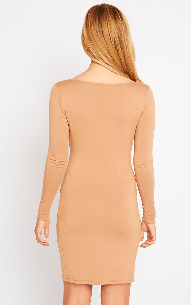 Kendi Camel Wrap Mini Dress 2