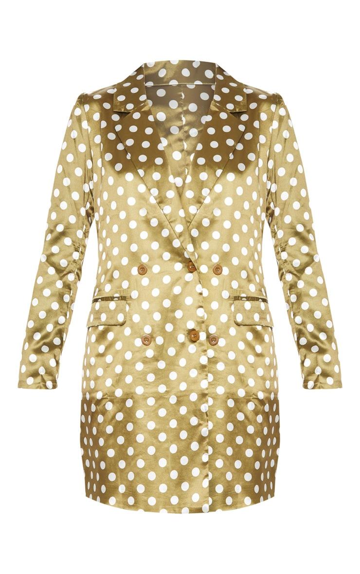 Khaki Polka Dot Satin Blazer Dress 3