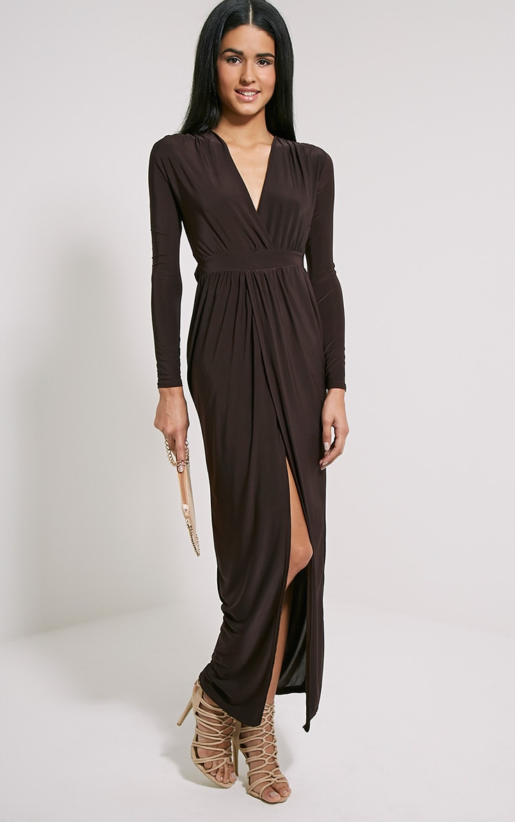 Bex Chocolate Brown Cut Out Maxi Dress 3