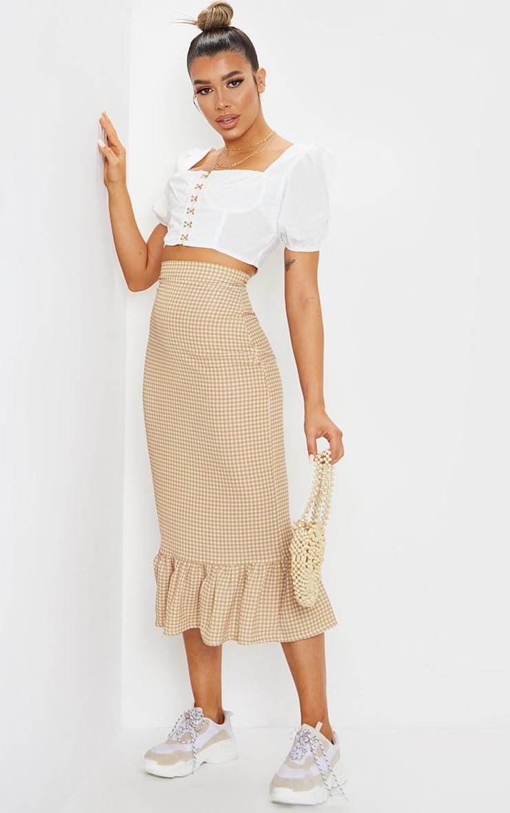 Stone Gingham Frill Hem Midaxi Skirt 1