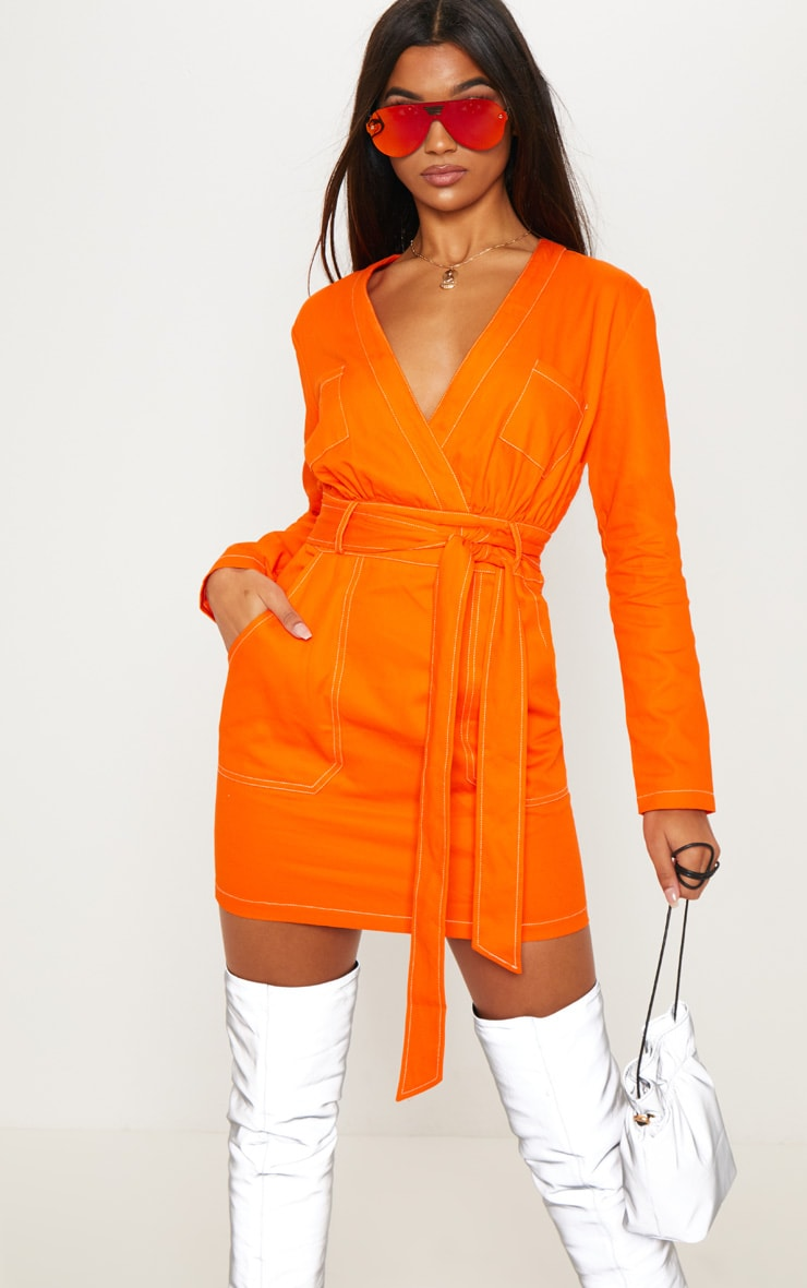 Orange Contrast Stitching Utility Bodycon Dress 3