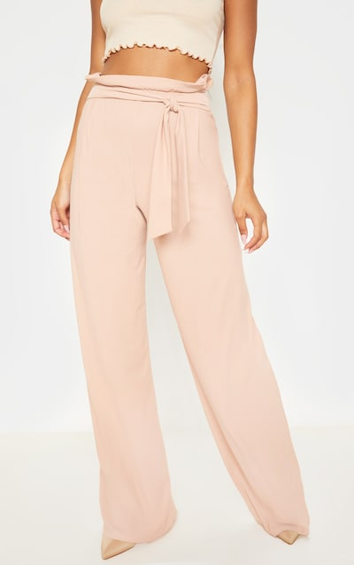 Nude Belted Wide Leg Trousers
