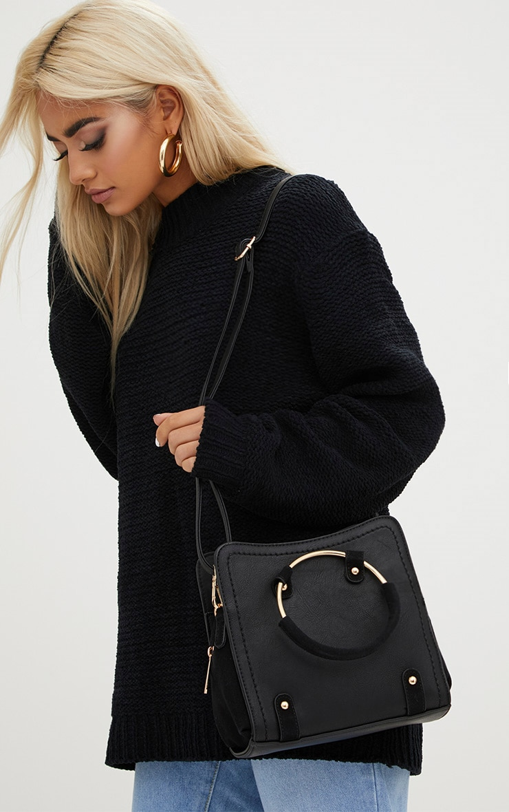 Black Hoop Handle Shoulder Bag
