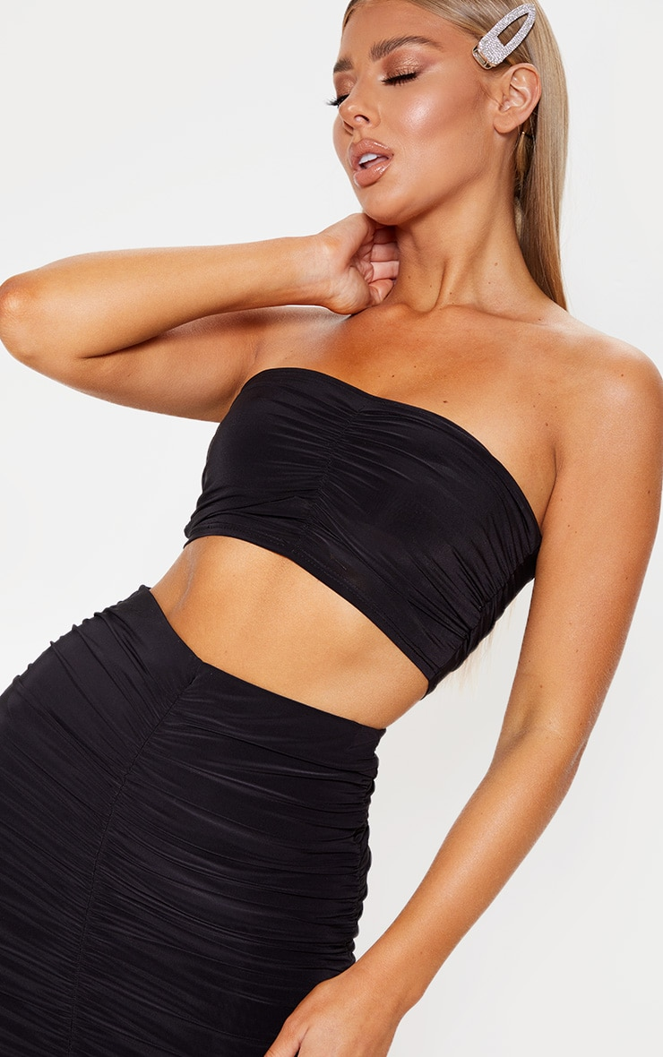 Black Slinky Ruched Detail Bandeau Crop Top 5
