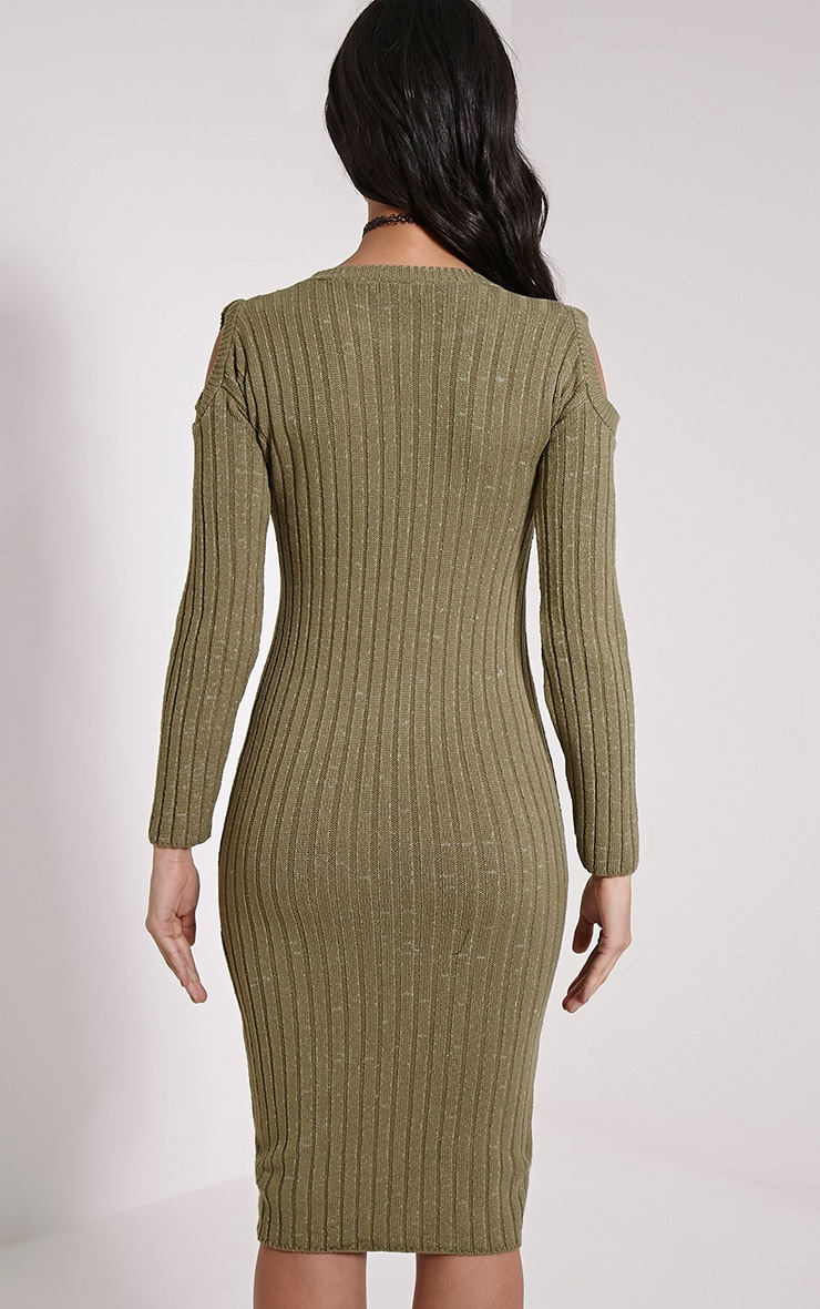 Paloma Khaki Ribbed Cut Out Shoulder Knitted Dress 2