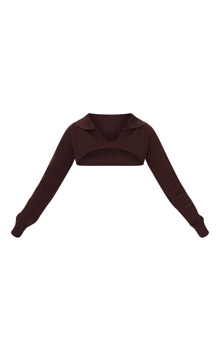 Chocolate Knitted Collar Super Crop Jumper 5