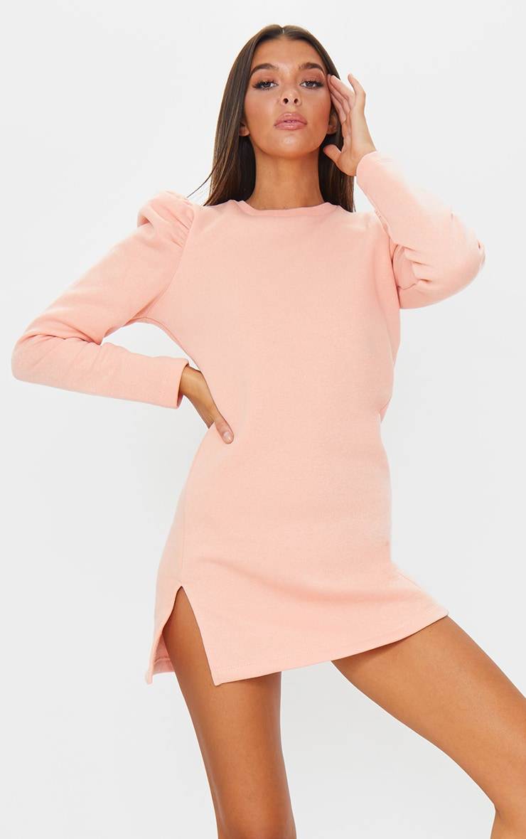 Peach Sweat Puff Sleeve Split Hem Sweater Dress 1