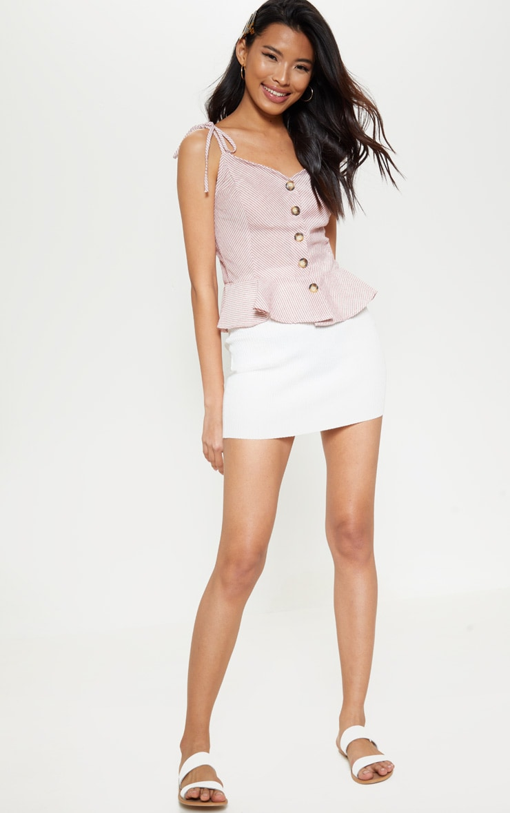 Red Stripe Button Front Peplum Cami Top 1