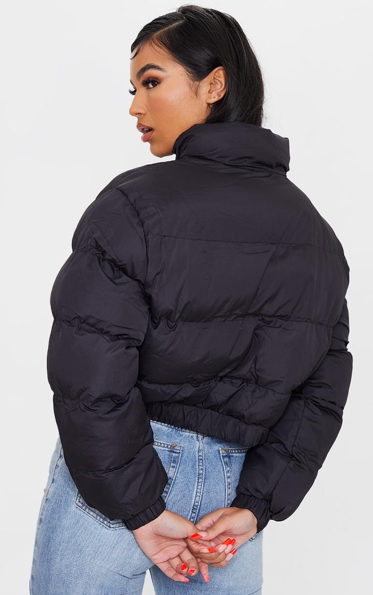 Black Cropped Elastic Hem Bubble Puffer Jacket 2