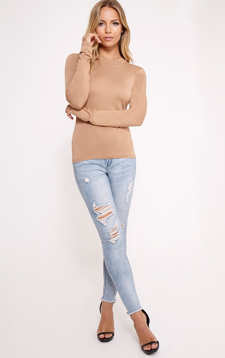 Basic Camel Turtle Neck Jersey Top 3