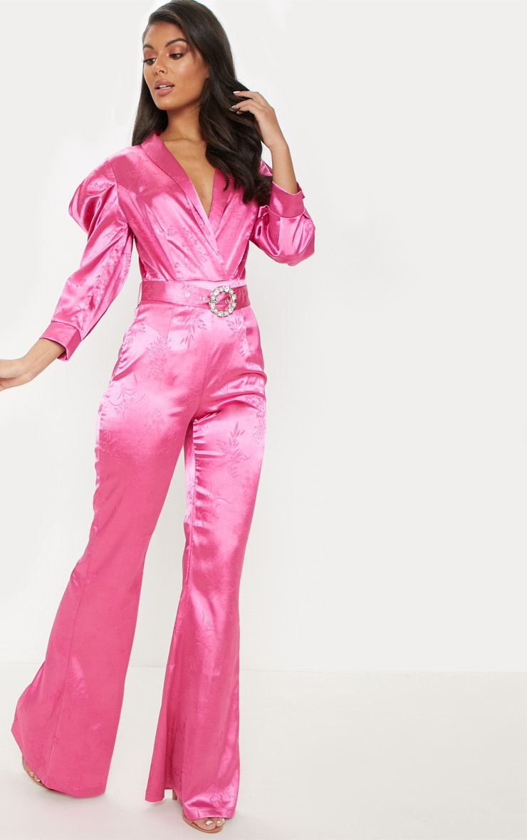 Hot Pink Belted Puff Sleeve Jumpsuit 4