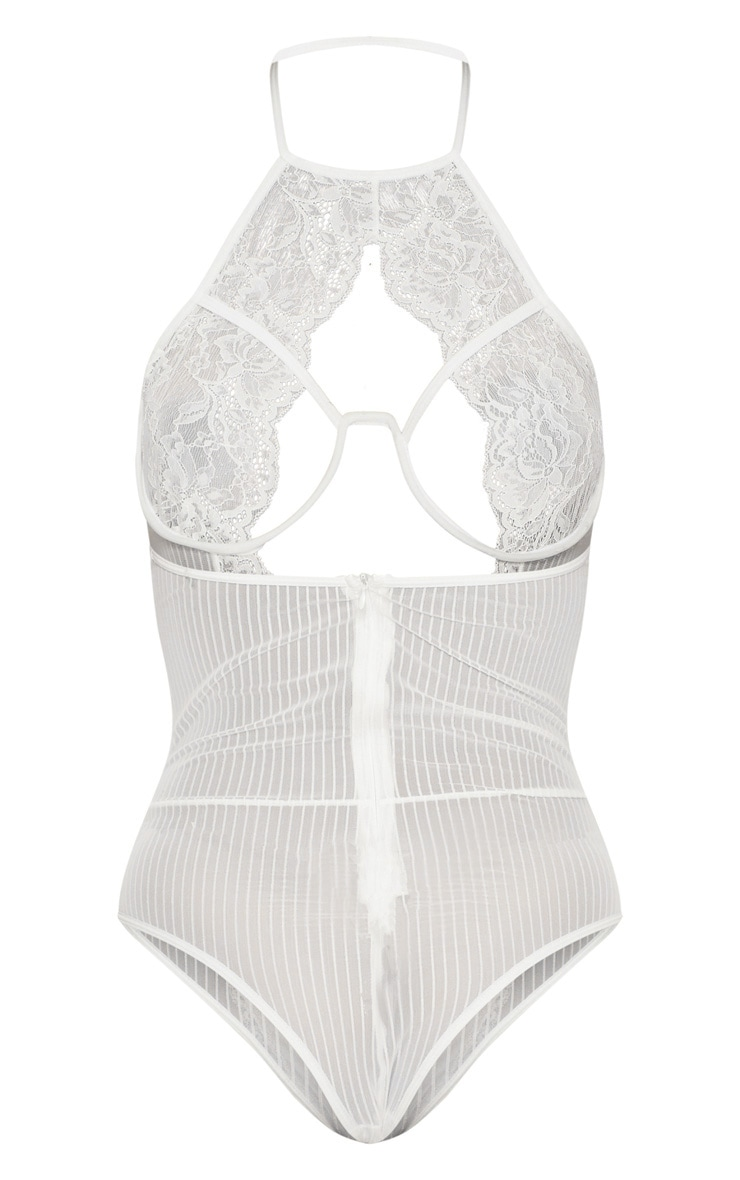 White Striped Underwired Cleavage Cut Out Body 4