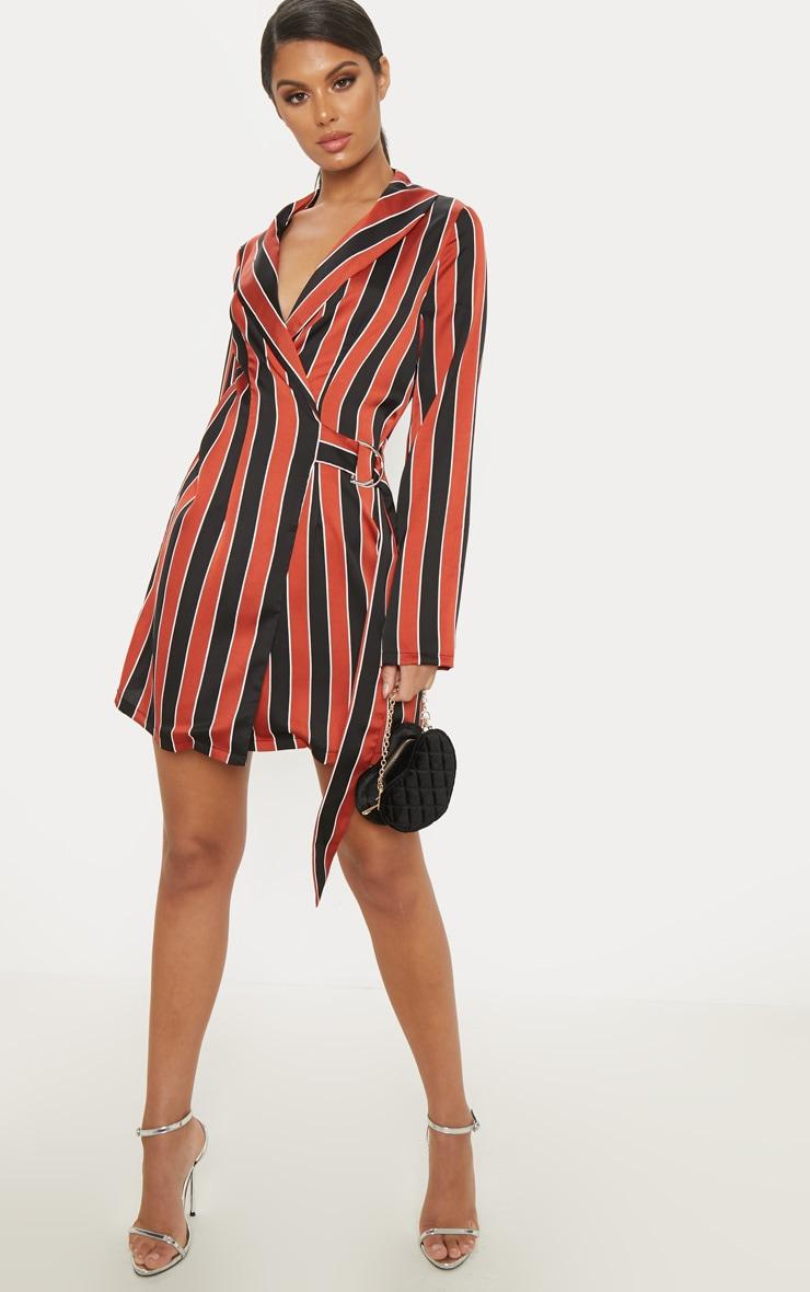 Rust Satin Stripe D Ring Blazer Dress 4