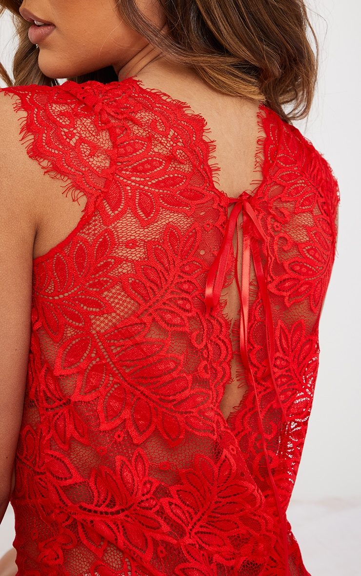 Red Lace Cap Sleeve Teddy 4