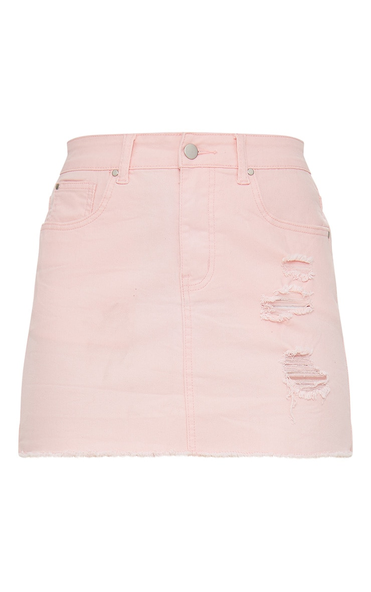Baby Pink Distressed Denim Mini Skirt 3