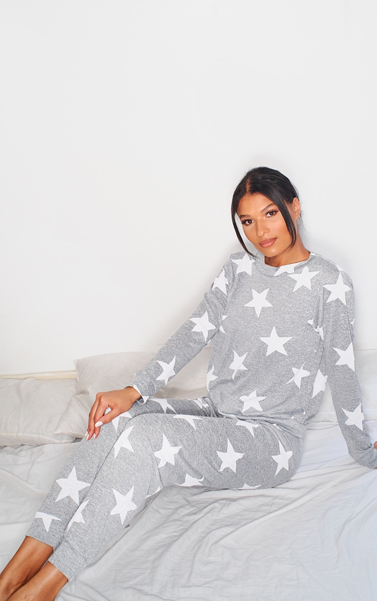 Grey and White Star Print Long PJ Set 1