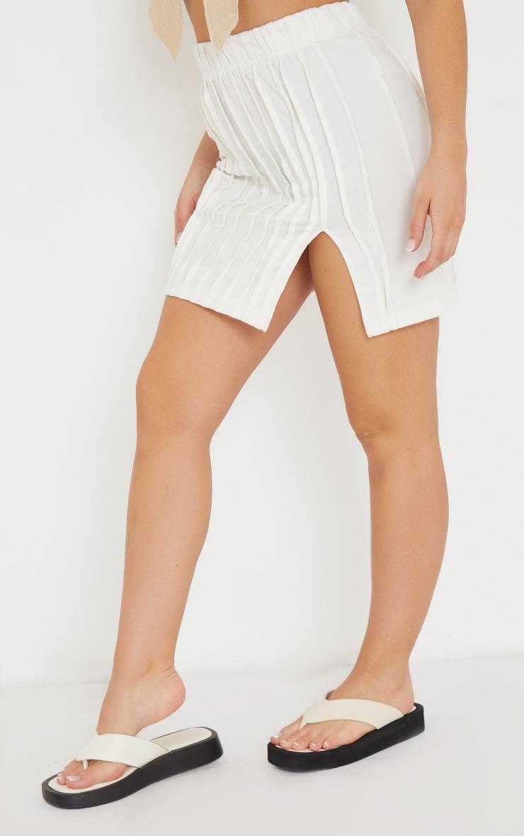 Cream Seam Detail Split Hem Mini Skirt 2