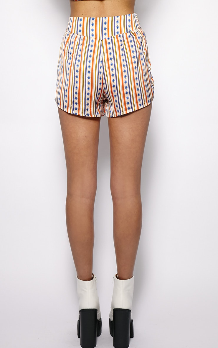 Gracie Orange Stripe Printed Shorts 2