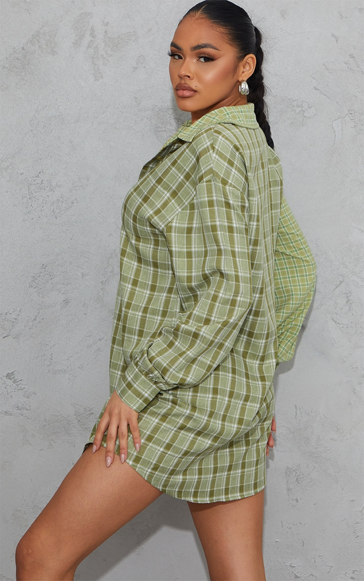Sage Green Contrast Check Panel Oversized Shirt Dress 2
