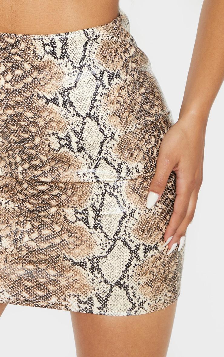 Tan Snake Print Faux Leather Bodycon Mini Skirt 5