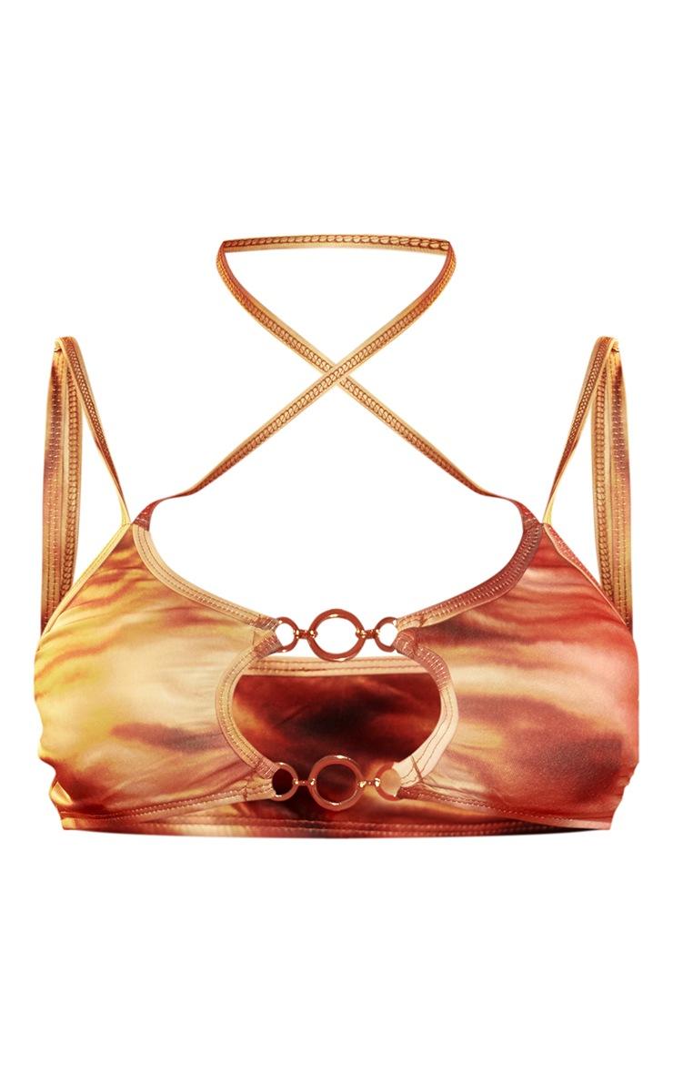 Brown Abstract Wave Triple O Ring Cross Front Halterneck Bikini Top 5