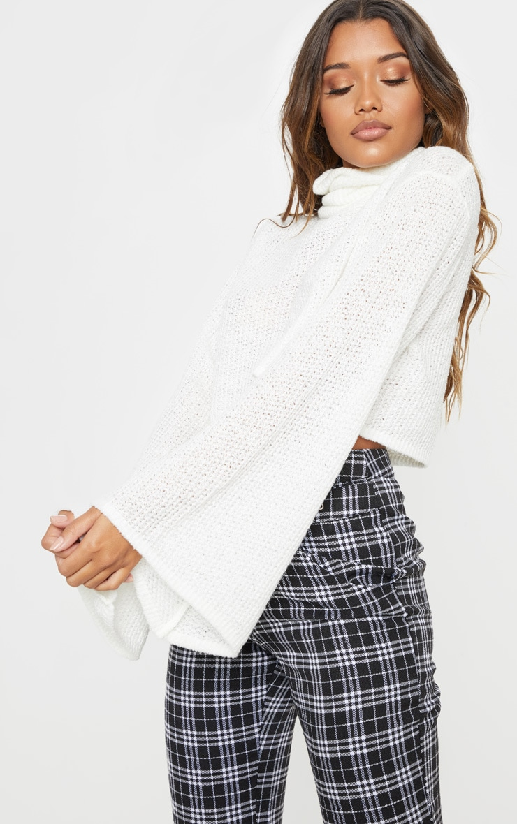 Cream Knitted Roll Neck Cropped Sweater 5