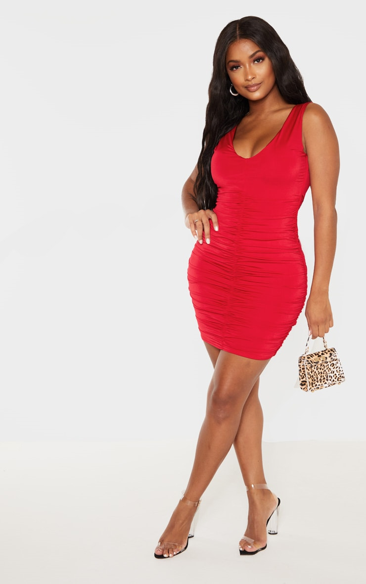 Shape Red Plunge Ruched Skirt Bodycon Dress 4