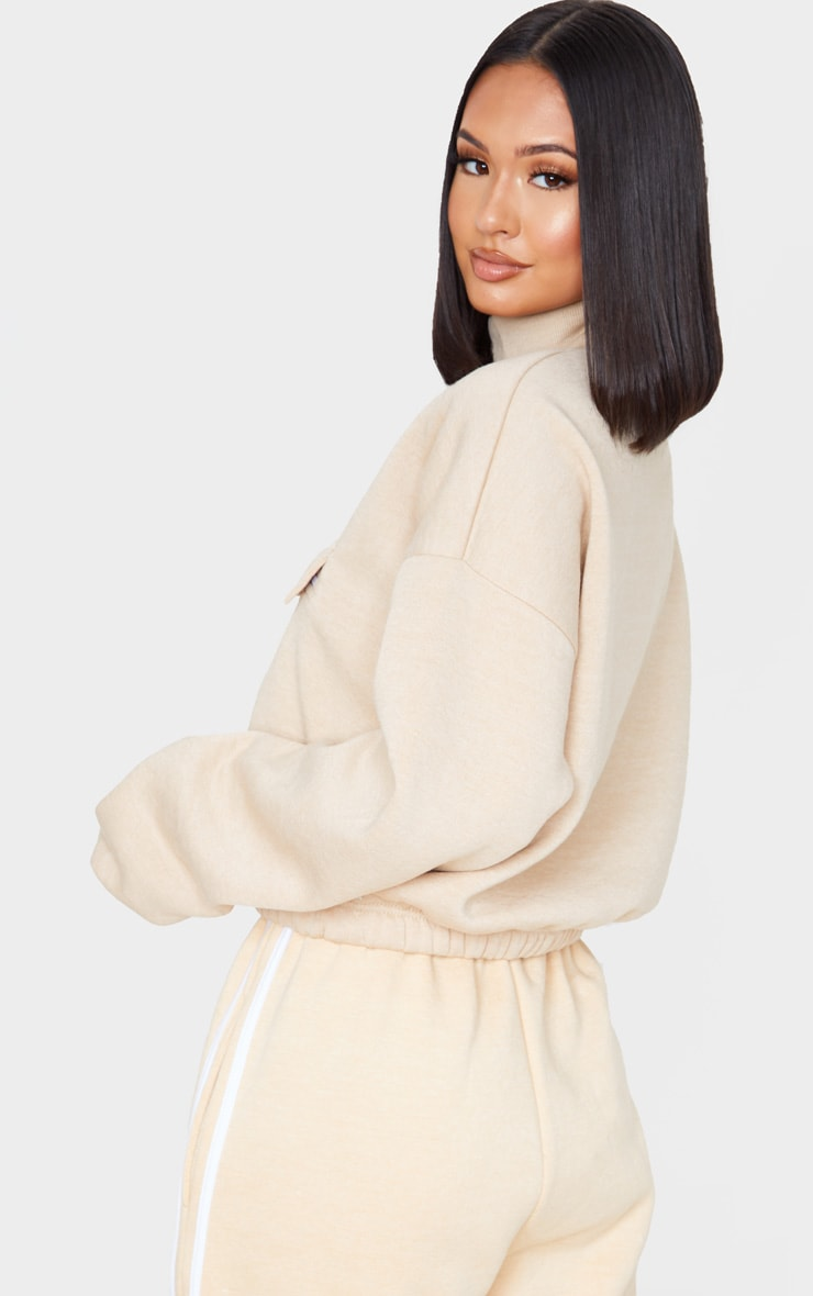 Sand Funnel Neck Pocket Front Sweater 2