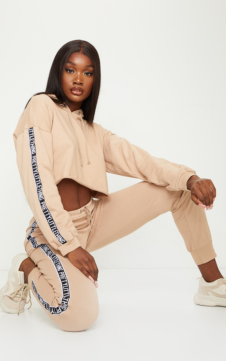 PRETTYLITTLETHING Tall Stone Cropped Hoodie 1
