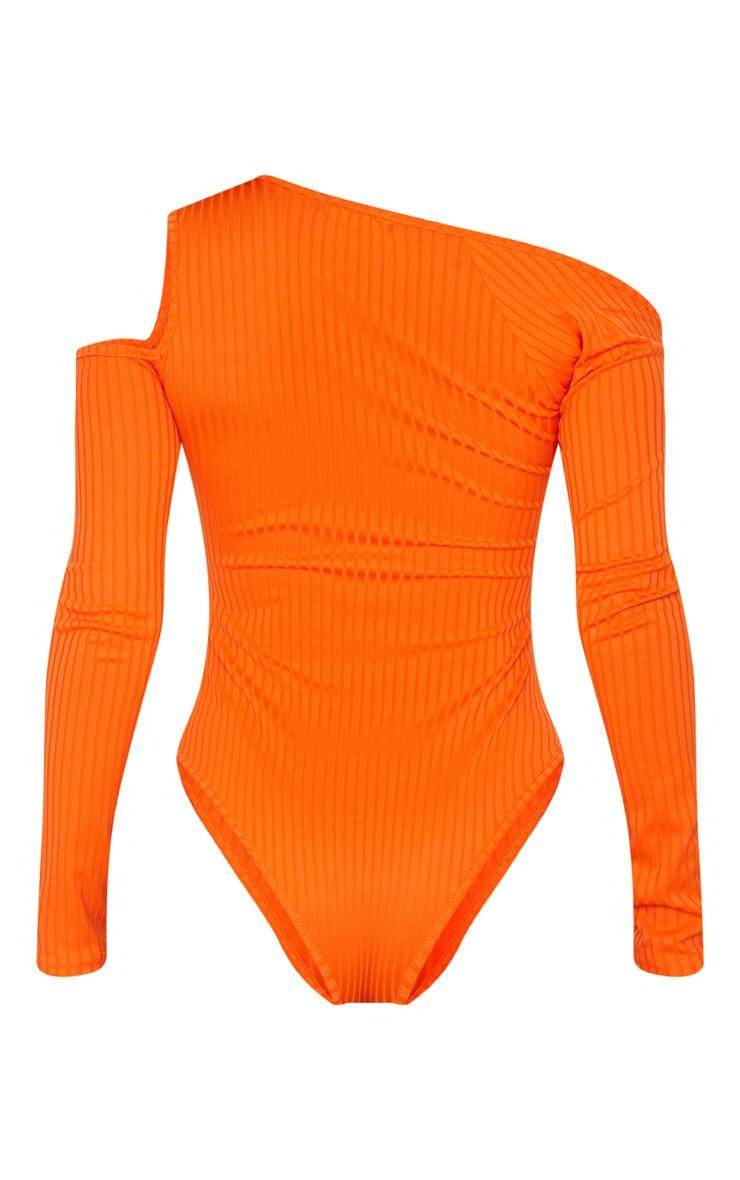Orange Rib Cut Out Long Sleeve Bodysuit 6
