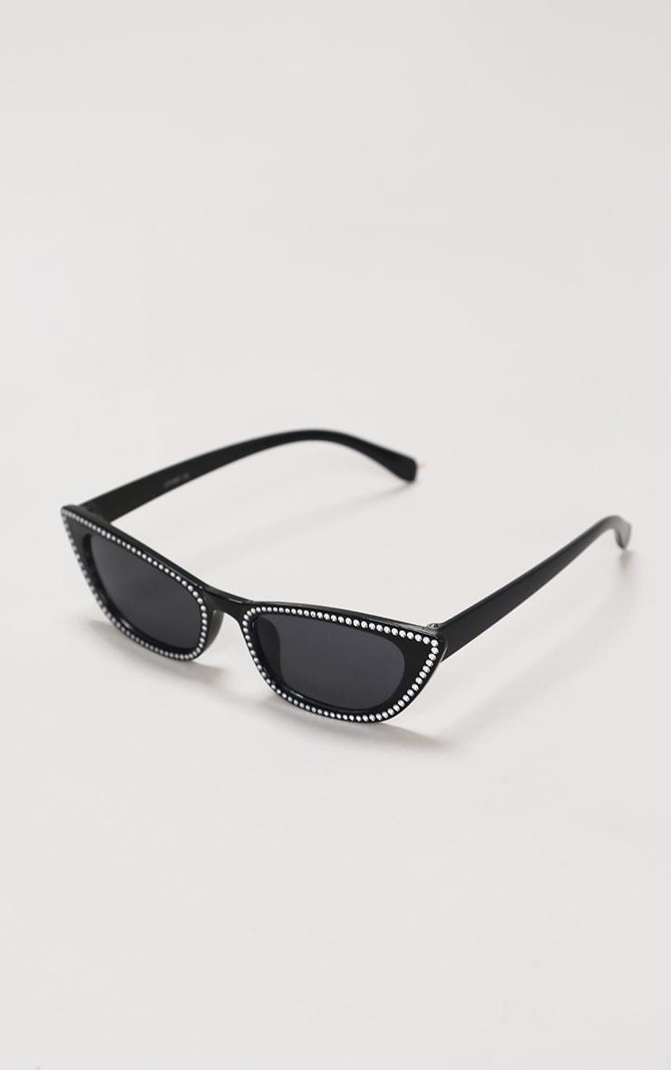 Black Diamante Trim Cat Eye Sunglasses 3