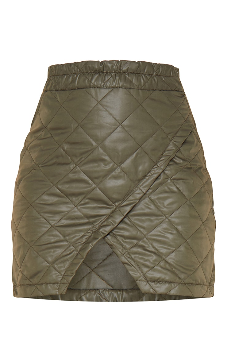 Khaki Quilted Wrap Front Mini Skirt 6