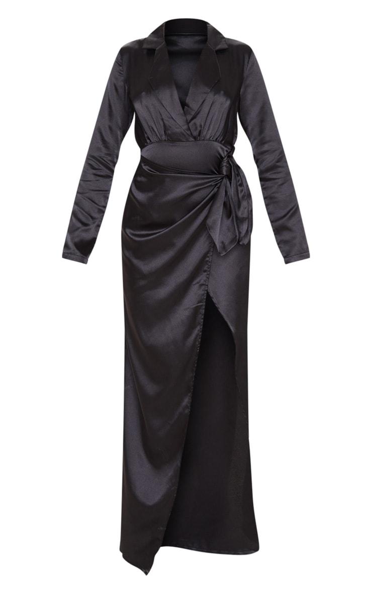Robe longue satinée noire à détail cache-coeur 3