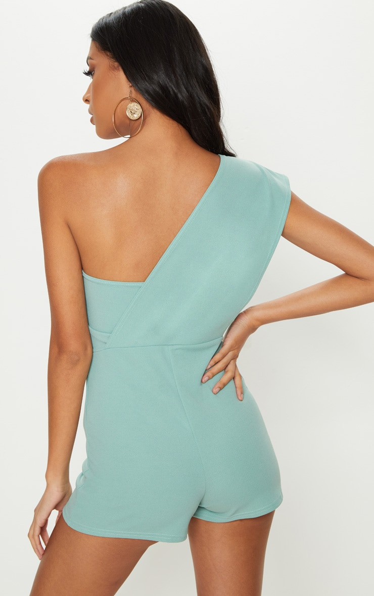 Mint Drape One Shoulder Romper 2
