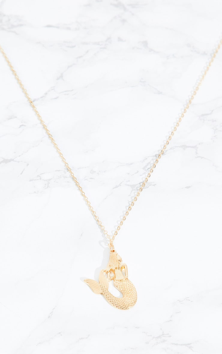 Gold Mermaid Pendant Necklace 3