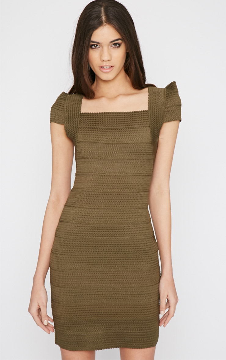 Taura Khaki Bandage Dress 1