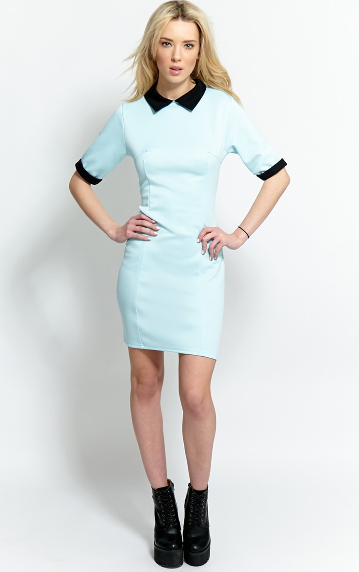 Katrina Baby Blue Collar Dress 5